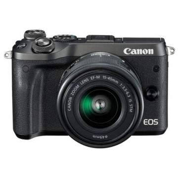 佳能/Canon EOS M6套机(15-45mm)微单相机M6 15-45套机  (黑色/银色)  行货机打发票 可开具增值税专用发票