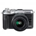佳能/Canon EOS M6套机(15-45mm)微单 (黑色/银色)  行货机打发票 可开具增值税专用发票